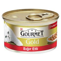 Nestle Purina - Gourmet Gold Parça Etli Soslu Sığır Etli Kedi Konservesi 85g