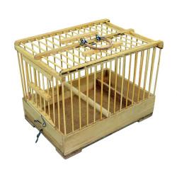 Fatih-Pet - Ahşap Bambu Mini Taşıma Kafes 15x22x17 cm